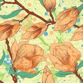 Vendimia de patrones sin fisuras con flores de magnolia — Vector de stock