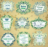Vector set of green and blue calligraphic design frames — Stock Vector