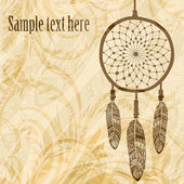 Vintage background with dream catcher — Stock Vector