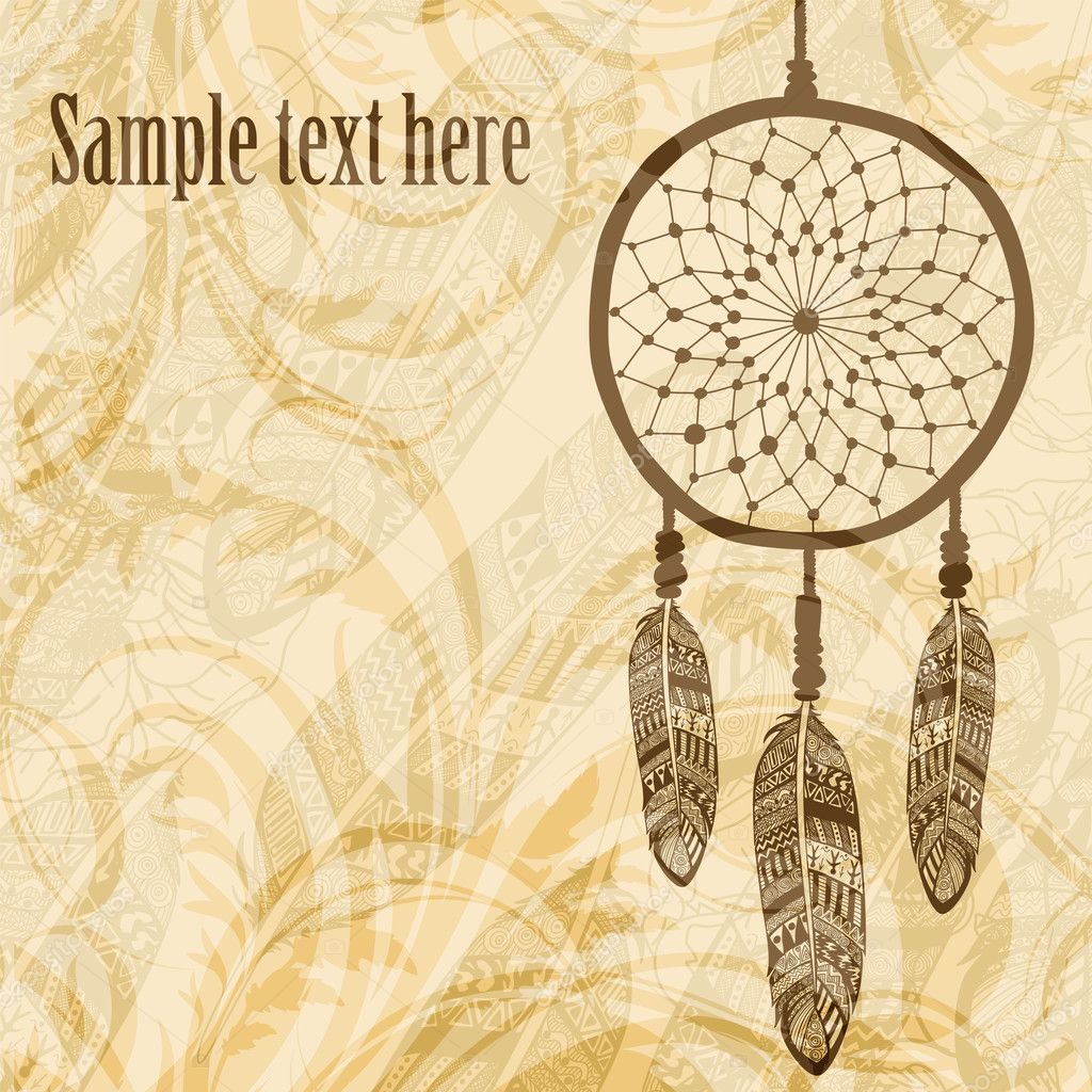Vintage background with dream catcher - Stock IllustrationVintage Dreamcatcher Background