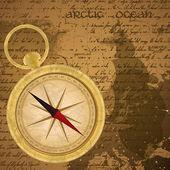 Antik denizci arka plan aşınmış eski harita ve altın pusula ile — Stok Vektör