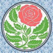Vintage rose in round frame — Stock Vector