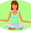 Serene woman in meditation position — Stock Vector