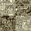 Set of seamless patterns with old town — Stock Vector