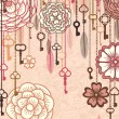 Vintage vector background with flowers,keys and feathers — Stock Vector