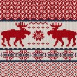 Knitted background with Christmas deers and snowflake — Stok Vektör