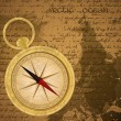 Antique sailor background with old grungy map and golden compass - Stock Vector