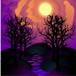Stock Vector: Halloween landscape