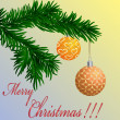 Royalty-Free Stock : Christmas card with fir-tree branch and balls