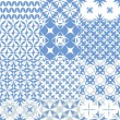 Stock Vector: Set of seamless patterns in blue