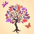 Royalty-Free Stock Vector Image: Vector tree with patch leaves