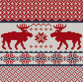 Knitted background with Christmas deers and snowflake — Stock Vector
