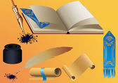 Writing vector set: book, parchment, bookmark, stylus and inkwell — Stock Vector