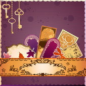 Vector scrapbooking luxury card with marks and stickers. Every object can be moved and used separately. — Stock Vector