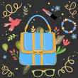 Woman handbag background vector - Stock Vector
