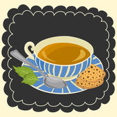 Cup of tea and cookie vector — Stock Vector