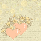 Vintage sketch of hearts and flowers — Stock Vector