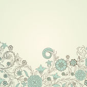 Vintage background with doodle flowers — Stock Vector