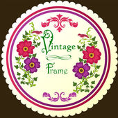 Retro floral round label — Stock Vector