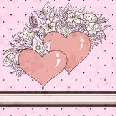 复古草绘的心灵和鲜花 — 图库矢量图片