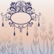 Vintage vector background with ornate frame and flowers — Vettoriali Stock