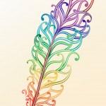 Rainbow feather vector — Stock Vector