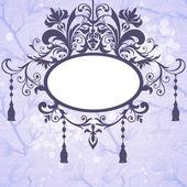 Vintage vector background with ornate frame and flowers — Stockvektor