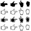 Vector set of hand cursor pictograms — Stock Vector