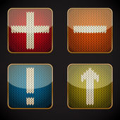 Glossy square icon set with knitted pictograms — Stock Vector