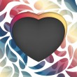 Vector heart frame. Multicolored abstract background — Stockvektor