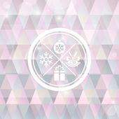 Fondo de navidad con símbolo redondo sello — Vector de stock