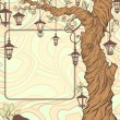 Vintage background with tree and lanterns — Stock Photo