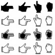 Set of hand cursor pictograms — Stock Photo