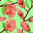 Vintage seamless pattern with magnolia flowers — Stock Photo