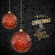 Christmas background with red and gold glass baubles — Imagen vectorial