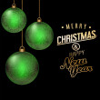 Christmas green baubles background — Image vectorielle