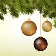 Abstract Christmas background with golden and brown baubles — Imagen vectorial