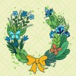 Handdrawn floral wreath with blue flowers — Stock Vector