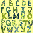 Funny alphabet made of patches for scrapbooking — Vettoriale Stock #36975725