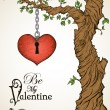 Valentine card with a heart hanging on tree and antique key — Stock Vector