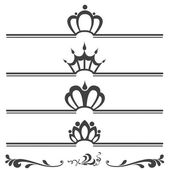 Collection of vintage text headers with crowns — Stock Vector