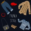 French style clothes set — Stock Vector