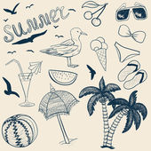 Sketch vector summer objects — Stock Vector
