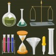 Vector cartoon chemistry laboratory objects in flat colors — Stock Vector