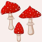 Illustration of cartoon amanita muscaria mushrooms — Stock Vector