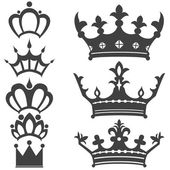 Collection of vintage crowns — Stock Vector