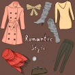 Stock Vector: Romantic style clothes set