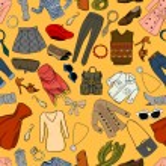 Fashion cartoon seamless background — Stock Vector #40157275
