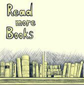 Sketch background with a book shelf — Stockvektor