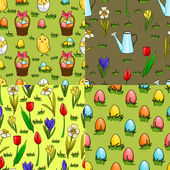 Set of four seamless patterns for Easter — Stock Vector